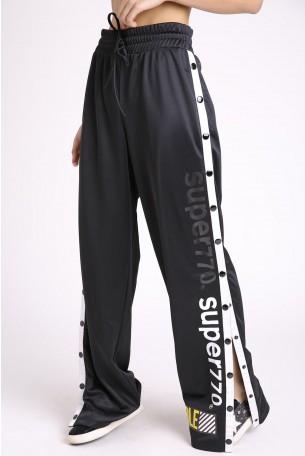 מכנסיים שחורים כפתורי צד SUPER 770