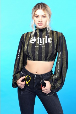חולצת בטן פסים זהב שחור  STYLE