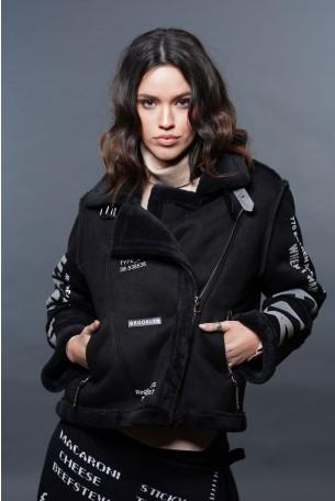 מעיל ג'קט שחור משולב דמוי עור הפוך ופרווה איכותיים FLY