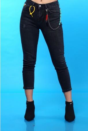ג'ינס שחור קרעים עדינים SEVEN