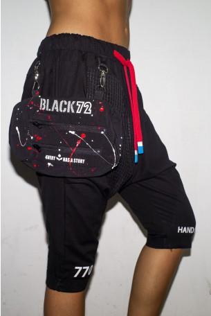מכנסי שקי ברך בשילוב פאוצ' BLACK