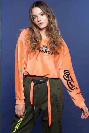 חולצת פוטר בגוון אפרסק קורדרוי קטיפה SCHEDULE