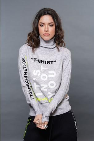 חולצת סריג עדין גולף אפורה  T SHIRT