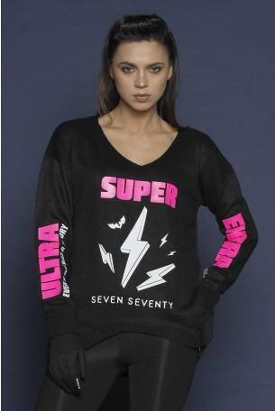 חולצת סריג שחורה SUPER