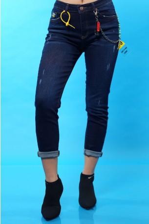 ג'ינס כחול כהה קרעים עדינים SEVEN
