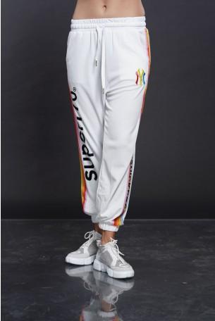מכנסי ג'וגר לבנים פסי צד SUPER 770