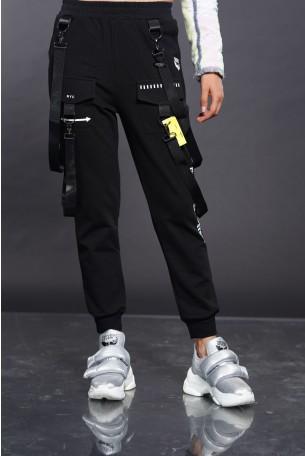 מכנס ג'וגר רצועות שחור NYC