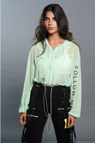 חולצת עליונית שקופה ירוקה גזרה קצרה FOLLOW