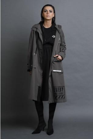 מעיל ג'קט ארוך בגוון אפור חום EVERY