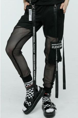 מכנסי ג'וגר משולבים בד רשת WEEKEND