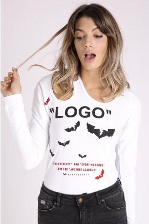 חולצה לבנה שרוול ארוך LOGO