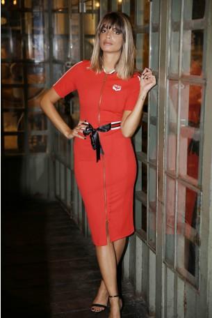 שמלת רוכסן אדומה אלגנטית צמודה לגוף STYLE