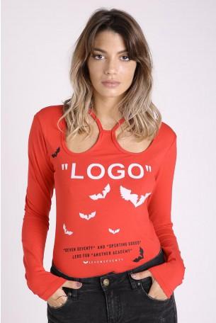 חולצה אדומה שרוול ארוך LOGO