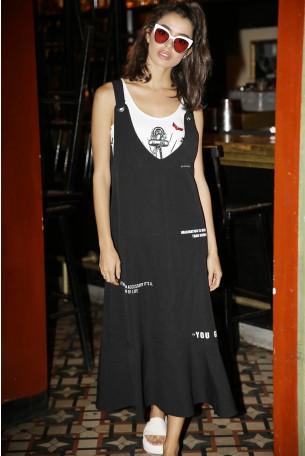 שמלה שחורה איבקות ONE WAY