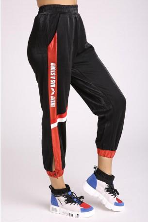 מכנסי ג'וגר בצבעי שחור ואדום מטאלי HOUSE