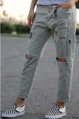 מכנסים בצבע זית קרעים  SKULL
