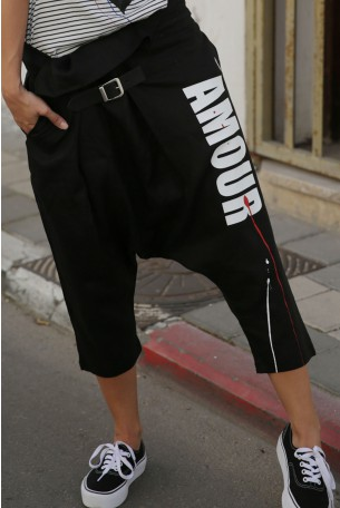 מכנסי שקי פשתן שחור AMOUR