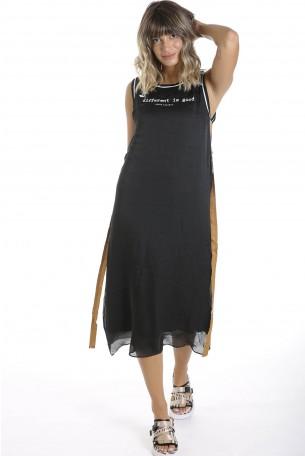 שמלת סאטן שחורה DIFFERENT