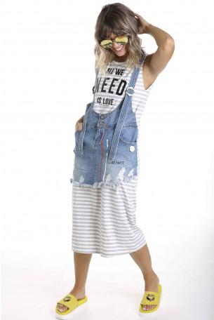 שמלת סרפן משולבת ג'ינס NEED