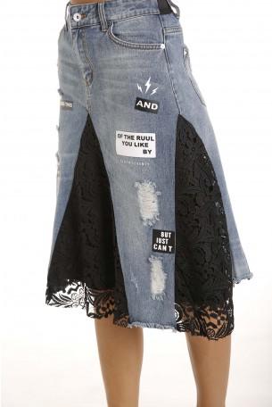 חצאית ג'ינס משולבת תחרה LIKE