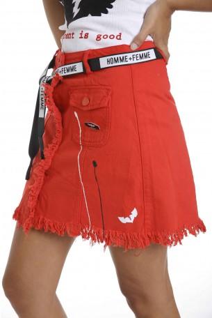 חצאית מיני אדומה SEVEN