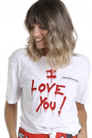 חולצת T לבנה LOVE YOU