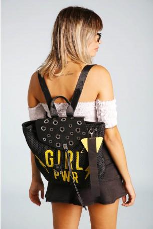 תיק גב שחור רשת איבקות מעוצב בעבודת יד GIRL PWR