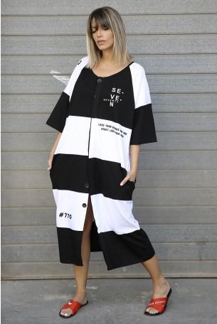 שמלת פסים מעוצבת SEVEN