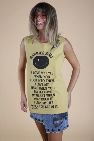 חולצת T בצבע חרדל BLISS