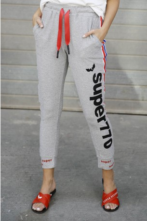 מכנסים  בגזרת ג'וגר בגווני לורקס אפורים  SUPER 770