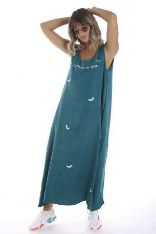 שמלה בצבע ירוק בד כותנה משולב משי DIFFERENT