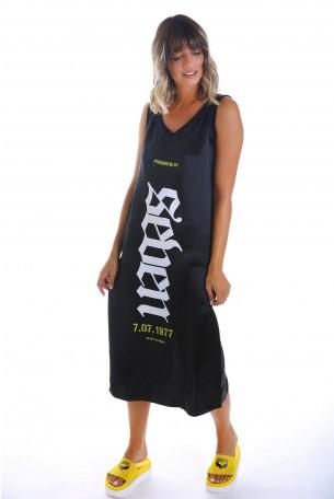 שמלה שחורה מבד סאטן SEVEN