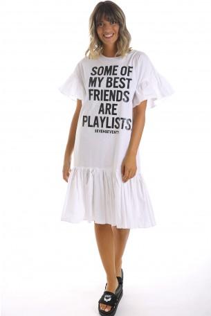 שמלה לבנה בשילוב מלמלה  BEST FRIENDS