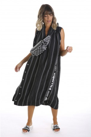 שמלת פסים שחורה בד כותנה משולב משי ONE WAY