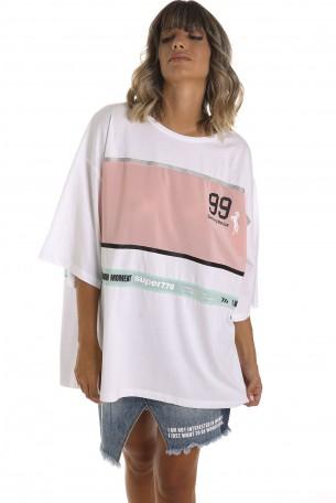 חולצה לבנה רחבה פס ורוד BLOND