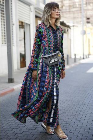שמלת מקסי צבעונית שרוול ארוך ANOTHER