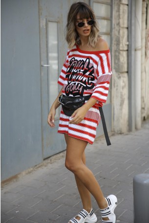 שמלת טוניקה פסים אדום לבן  NY