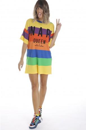 שמלת טוניקה פסים צבעונית QUEEN