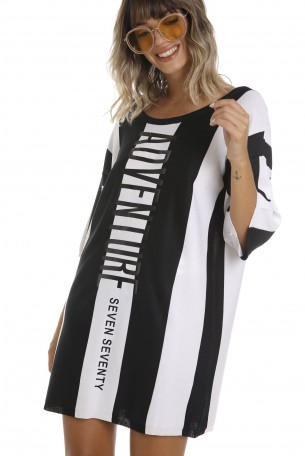 שמלת טוניקה פסים שחור לבן ADVENTURE