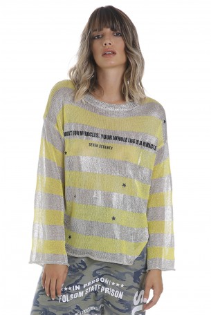 חולצת סריג פסים צהוב זהוב MIRACLE