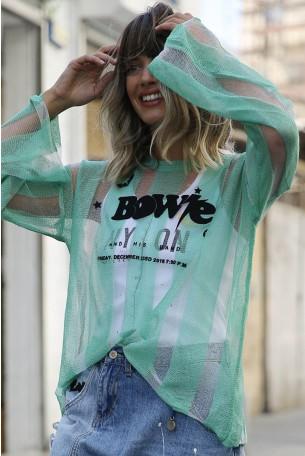 חולצת סריג ירוקה פסים  BOWIE