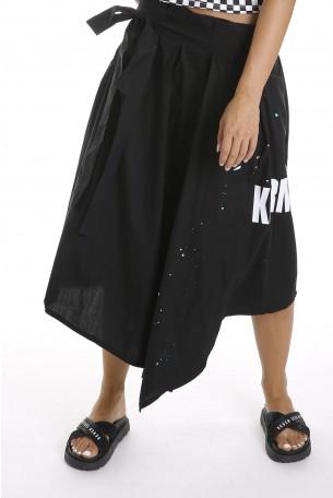 חצאית אסימטרית שחורה KARMA