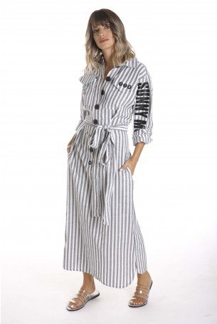 שמלה מעוצבת מכופתרת ארוכה  SUNNY