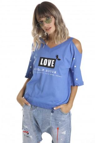 חולצה רחבה כחולה LOVE