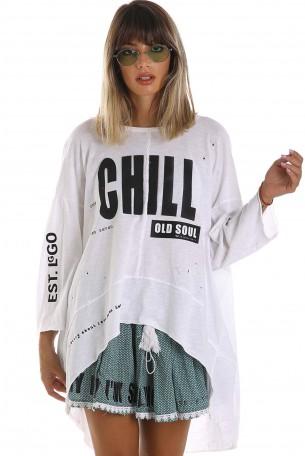חולצה לבנה רחבה CHILL
