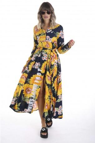 שמלת מקסי חמניות שרוול ארוך SHINE