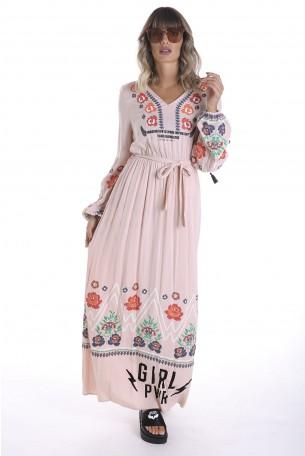 שמלה אתנית ארוכה בצבע ורוד עתיקFLOWERS