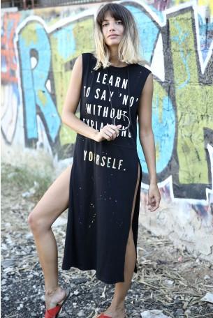 שמלת מקסי שסע  ללא שרוולים  LEARN