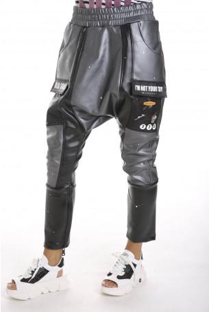 מכנסי ויניל שילוב בדים BEAUTIFUL