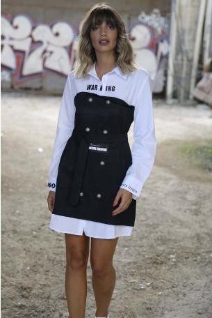 שמלה מעוצבת בשחור לבן WARNING